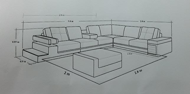 cách bố trí thảm trải phòng khách size 2x2.8