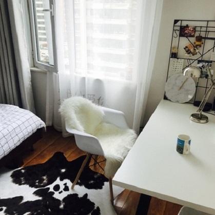 thảm lông thú trải bàn làm việc ở nhà