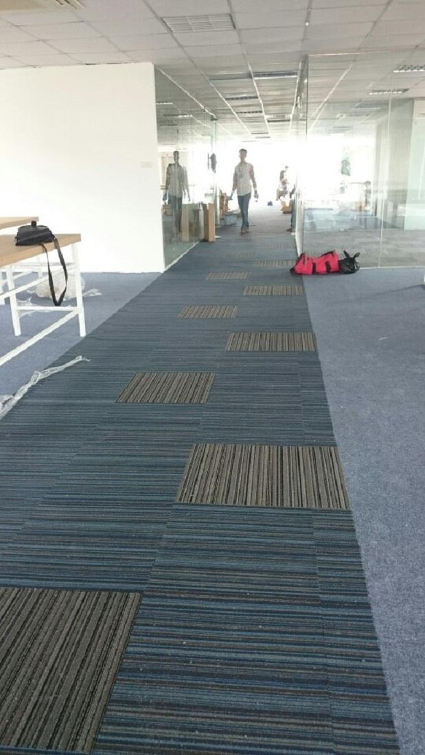 thảm lót sàn văn phòng melody xanh 2