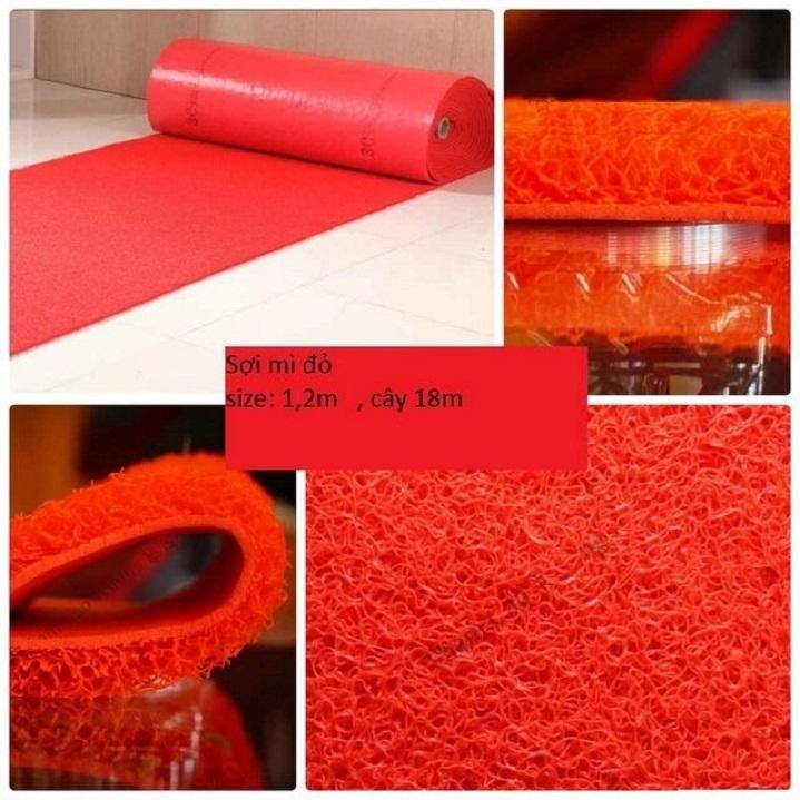 thảm nhựa chống trơn sợi mì màu đỏ tươi