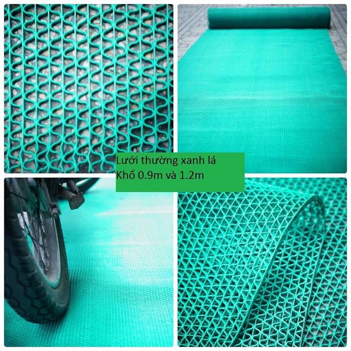 thảm nhựa trải sàn lưới gợn sóng màu xanh lá